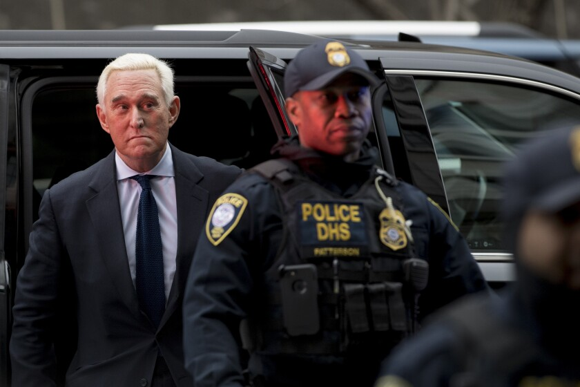 Roger Stone, a former campaign advisor for President Trump, arrives at federal court in Washington on Jan. 29, 2019.