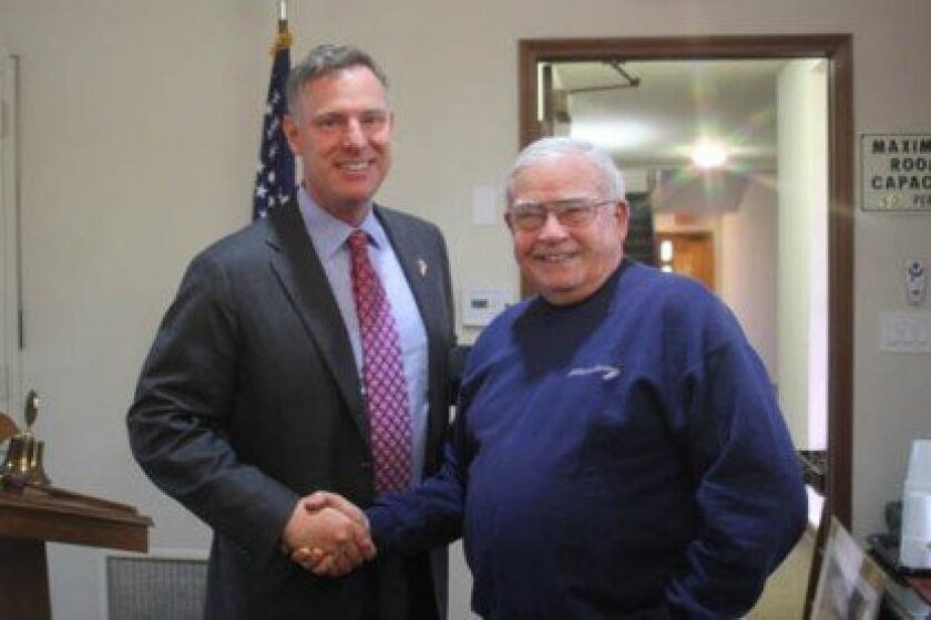 Scott Peters and Torrey Pines Kiwanis president-elect Will Rodgers.