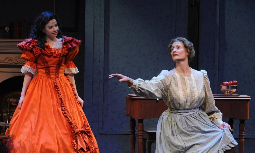 """Hilary Maiberger (left) and Susan Stuber in Moonlight Stage Productions' """"Little Women - The Musical."""""""