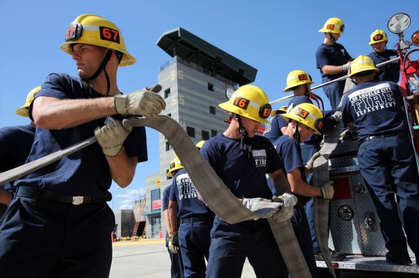 LAFD recruits train at the training academy in Panorama City.