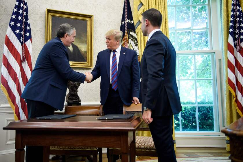 President Trump, Guatemalan Interior Minister Enrique Degenhart, acting Homeland Security Secretary Kevin McAleenan