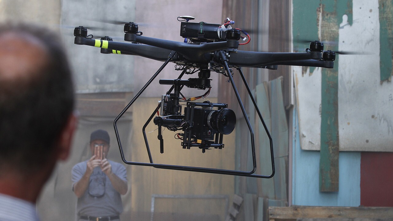 "An Aerial MOB drone lands after filming a scene for ""Criminal Minds: Beyond Borders"" at a Santa Clarita ranch."