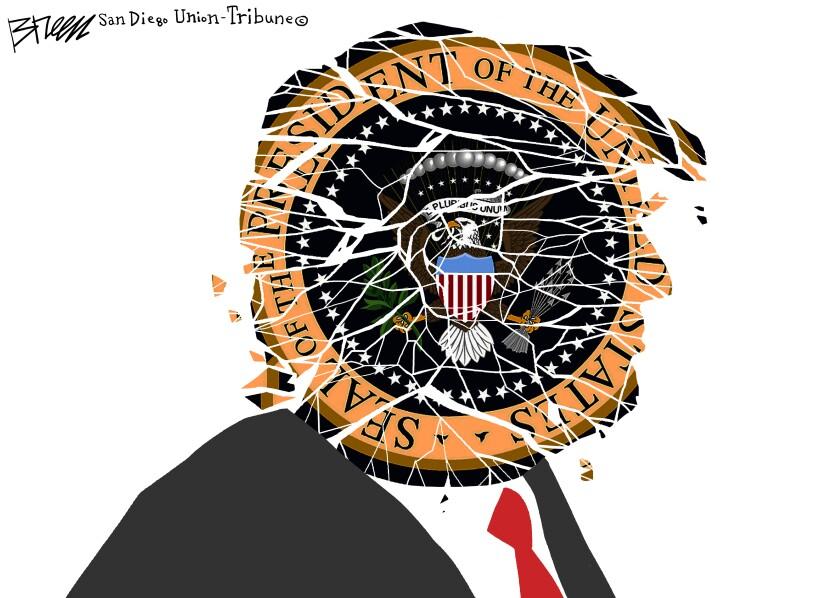In this Breen cartoon, Trump's head is shown as a disintegrating presidential seal
