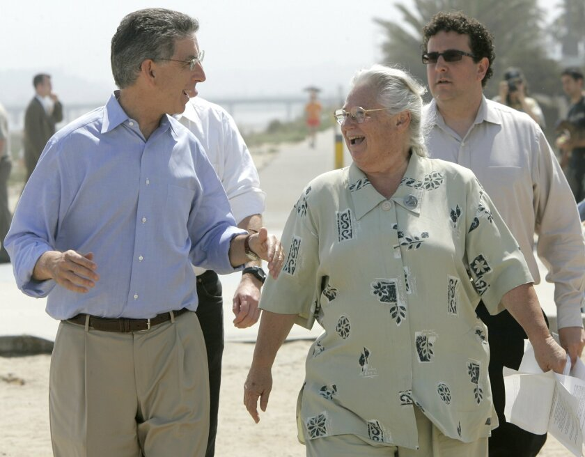 Bruce Reznik has been among the most prominent environmental leaders in San Diego County for the past decade. In this 2006 photo, he walks with former gubernatorial candidate Phil Angelides (left) and Sara Wan, who sits on the California Coastal Commission.
