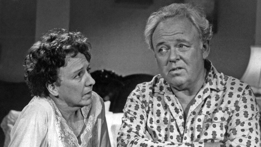 "Jean Stapleton, left, and Carroll O'Connor in ""All in the Family."""