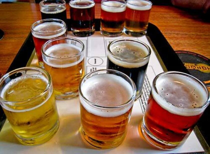 A sampler of beers at 2-year-old Hopworks Urban Brewery, which features all six of Hopworks' regular ales plus four seasonals. Its ales are crafted from organic ingredients in an eco-friendly building.
