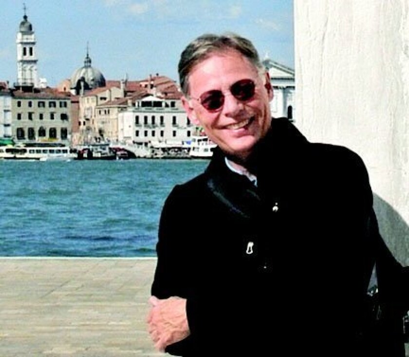 Michael Wilkes in Venice, leaning against the wall of a church designed by Italian architect Andrea Palladio (1508-1580) Courtesy