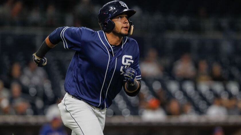 Padres minor league player Fernando Tatis during their game against Texas Rangers on Saturday in San Diego, California, on Sept. 30, 2017.
