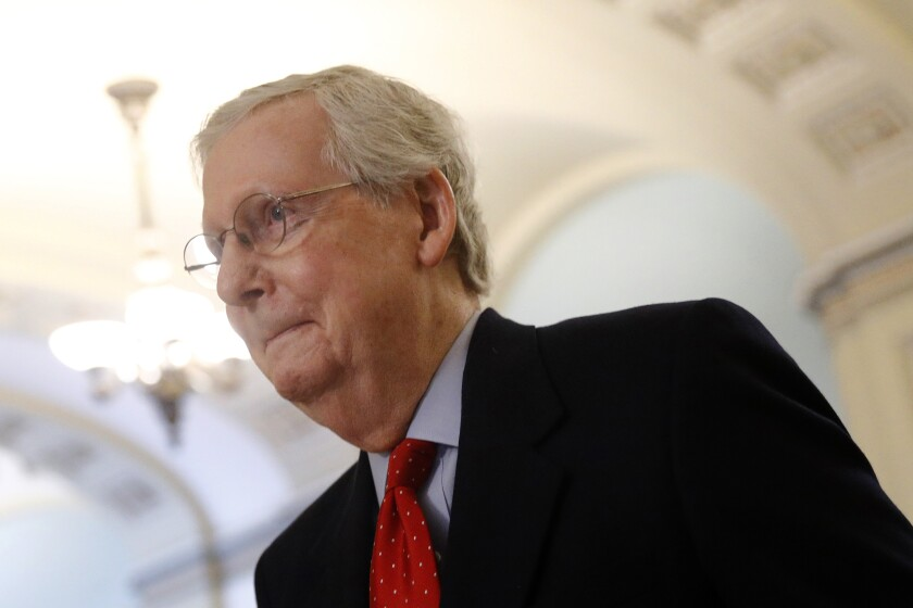Senate Majority Leader Mitch McConnell (R-Ky.), shown leaving his office April 9, has questioned whether Congress should help states with the budget problems exacerbated by COVID-19.