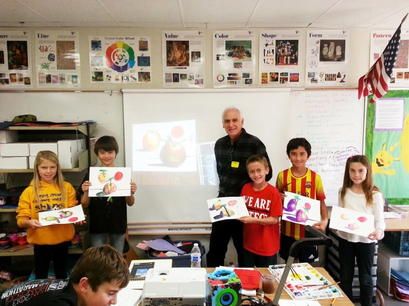 The first artist to participate in ArtPartners 2015 was local watercolorist Mark Sherman, pictured, who spent two afternoons with fifth-graders at Del Mar Heights Elementary School.