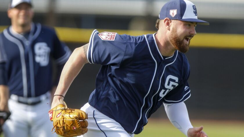 Padres pitcher Logan Allen during Padres spring training at the Peoria Sports Complex in Peoria, Arizona on Friday, Feb. 15, 2019.