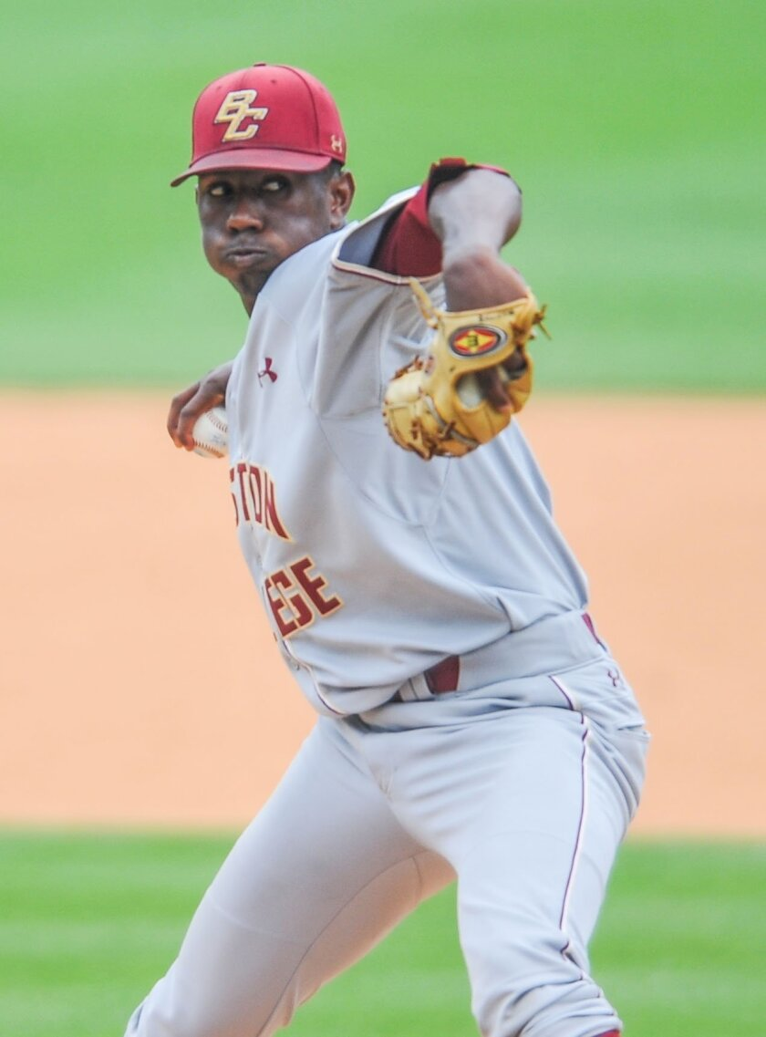 Boston College pitcher Justin Dunn throws against Tulane in the NCAA college regional baseball tournament game in Oxford, Miss., Friday, June 3, 2016. (Bruce Newman/The Oxford Eagle via AP)  NO SALES; MANDATORY CREDIT
