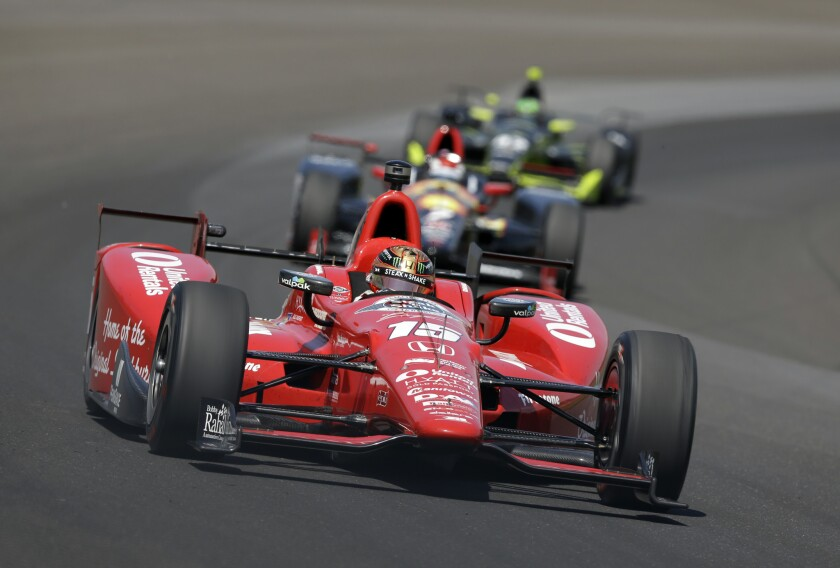 Graham Rahal drives during the final practice session for the Indianapolis 500 on May 27.
