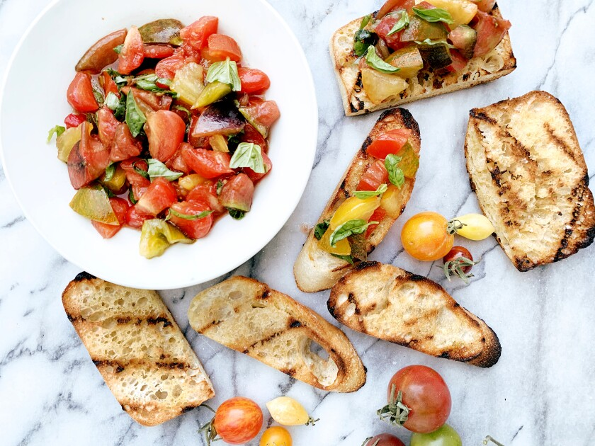 Tiny tomato bruschetta recipe by Genevieve Ko.