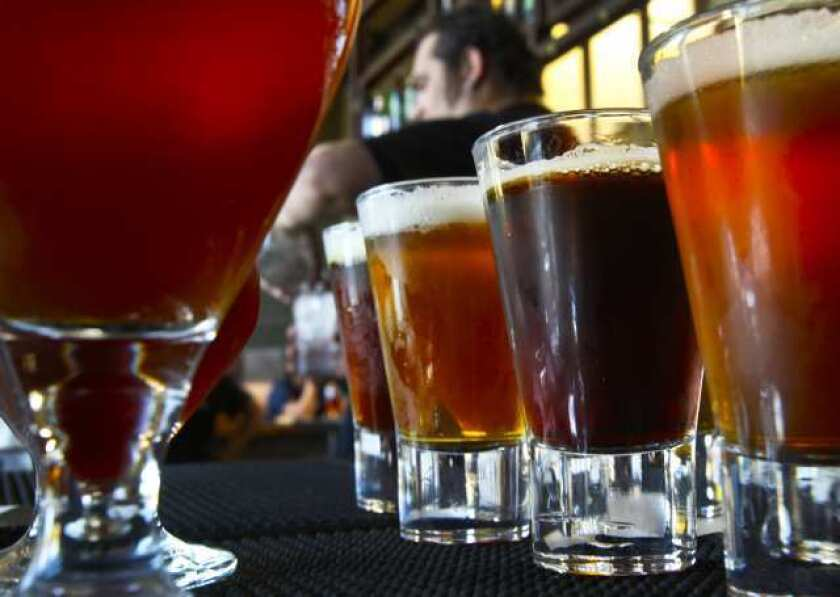 A variety of beers at the Stone Brewing World Bistro & Gardens in Escondido.