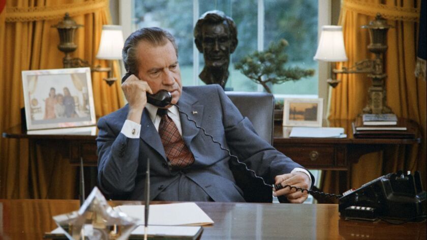 A photograph of President Nixon taken June 23, 1972, during filming of a campaign documentary.