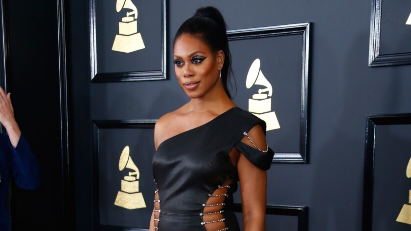 Laverne Cox during the arrivals at the 59th Annual Grammy Awards.