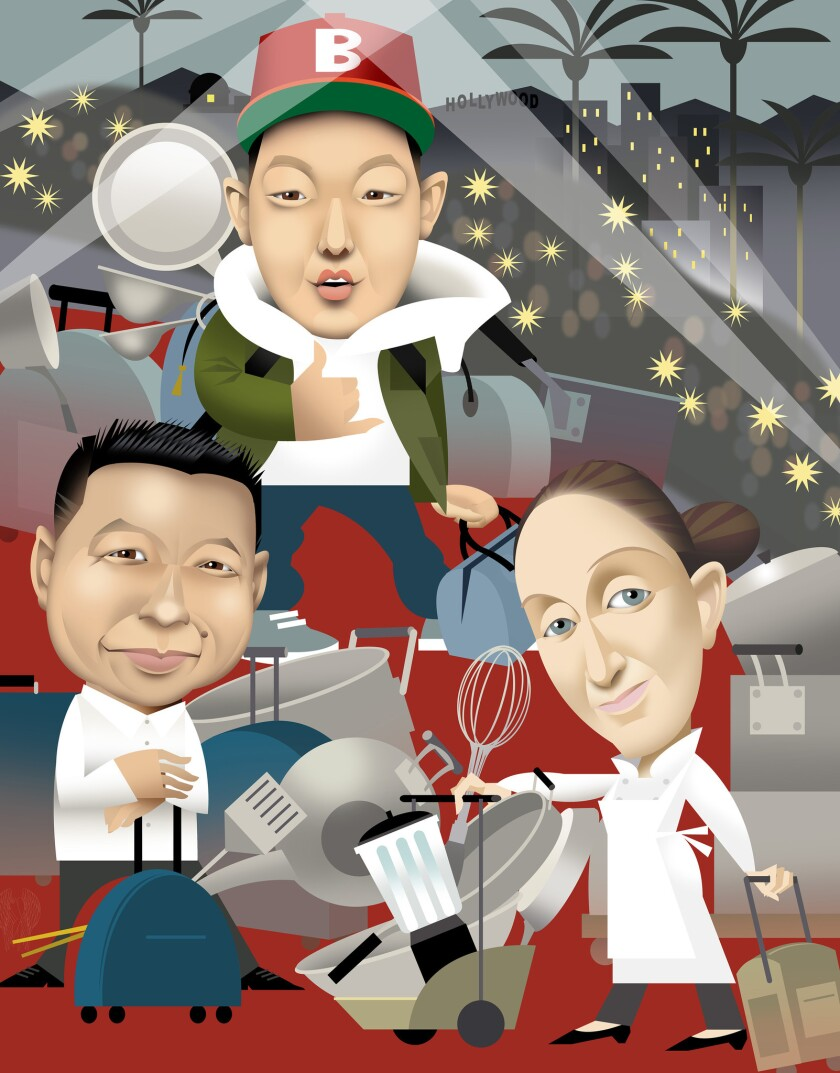 An impressive number of chefs are coming to Los Angeles. From left: Charles Phan, Eddie Huang and April Bloomfield are among them.