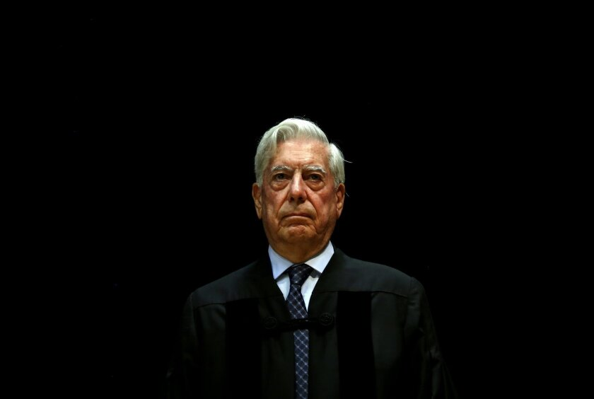 FILE - In this July 22, 2014 file photo, Peru's Nobel Literature Prize laureate Mario Vargas Llosa attends a ceremony where he was an Honoris Causa degree by Lisbon Nova University, in Lisbon, Portugal. It was announced Tuesday, Feb. 9, 2016, that Vargas Llosa has been chosen to receive the Pedro H