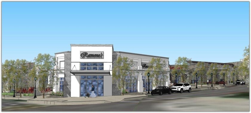 Artist's rendering of commercial development proposed for Town Center in master-planned San Elijo Hills. The plan would see seven commercial buildings, including retail shops and dedicated restaurants, as well as townhomes.