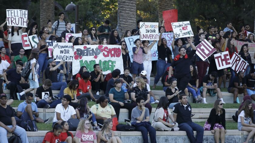 NORTHRIDGE, CA -- SEPTEMBER 13, 2018: Cal State Northridge students and faculty members are rallying