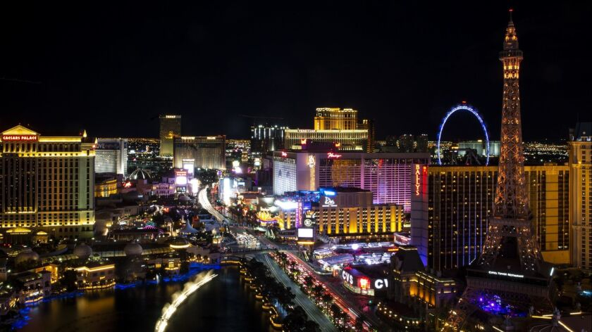 LAS VEGAS, NEV. - MARCH 21: A view of the Las Vegas Strip, from the The Cosmopolitan Hotel on Thursd