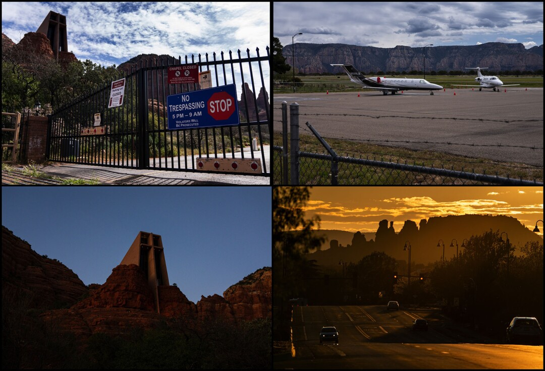 Clockwise from upper right: Two private jets are parked at the Sedona Airport, which is atop a mesa overlooking the city; the sun sets over Arizona State Route 89A cutting through Sedona; Chapel of the Holy Cross; a gate in front of Chapel of the Holy Cross.