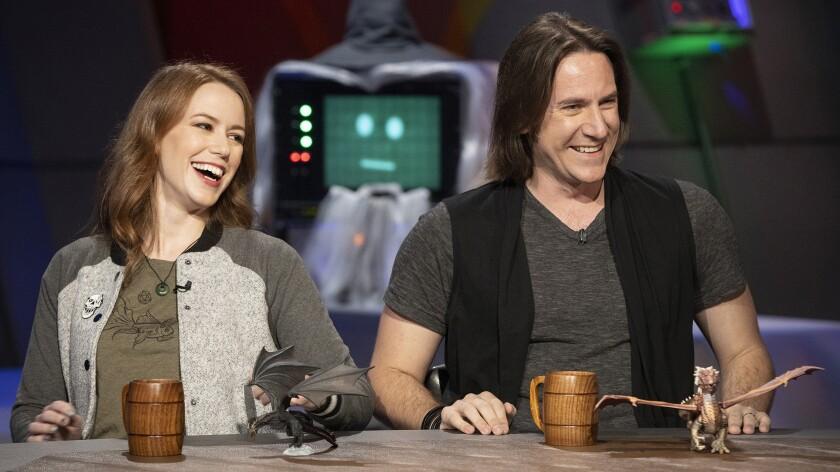 "Marisha Ray and Matt Mercer in ""The Great Debate"" on Syfy."
