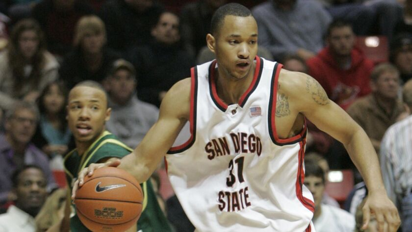 Former SDSU star Lorrenzo Wade, shown here during his junior season, has returned to campus to finish his degree in sociology.