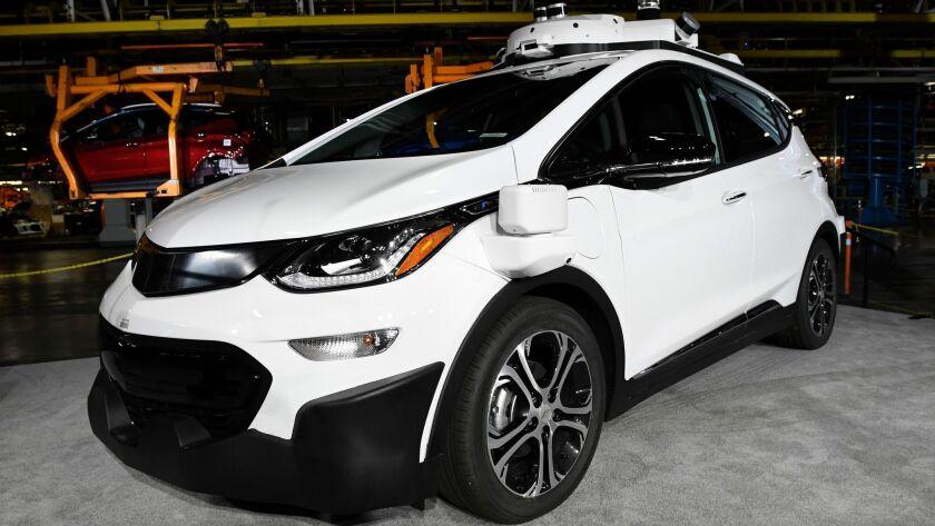 A self-driving Chevrolet Bolt that is in General Motors Co.'s autonomous vehicle development program, shown in June 2017.