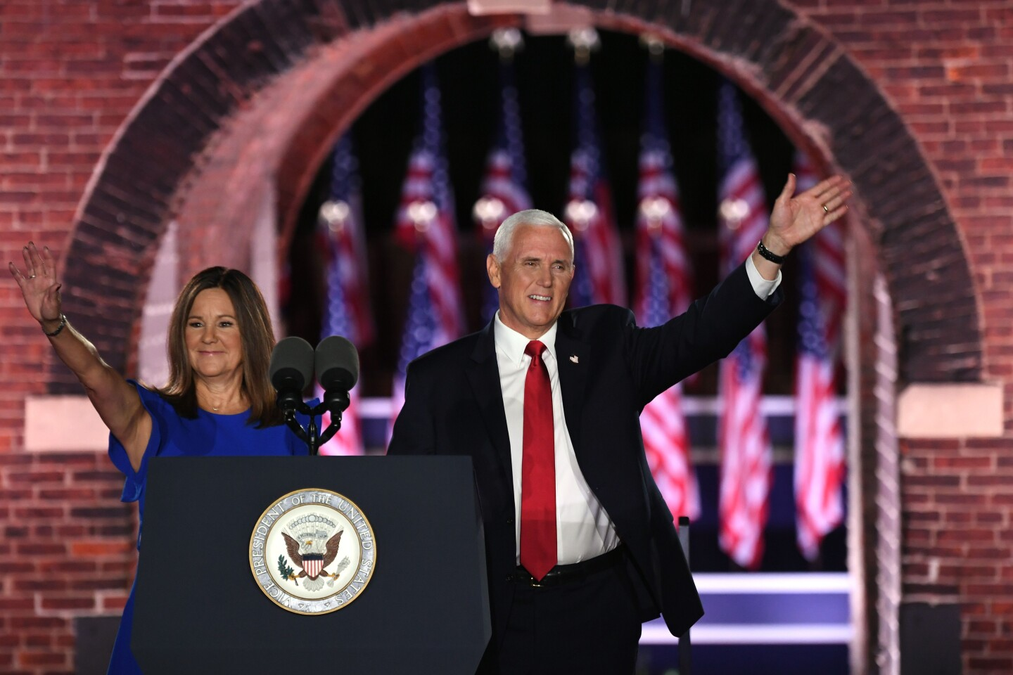 US Vice President Mike Pence (R) arrives with wife Second Lady of the US Karen Pence