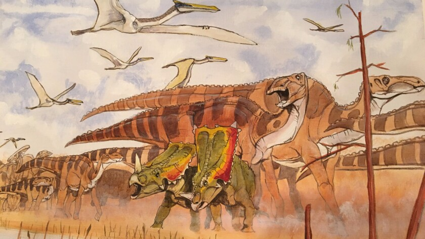 A painting showing a variety of dinosaurs including the duck-billed hadrosaur.