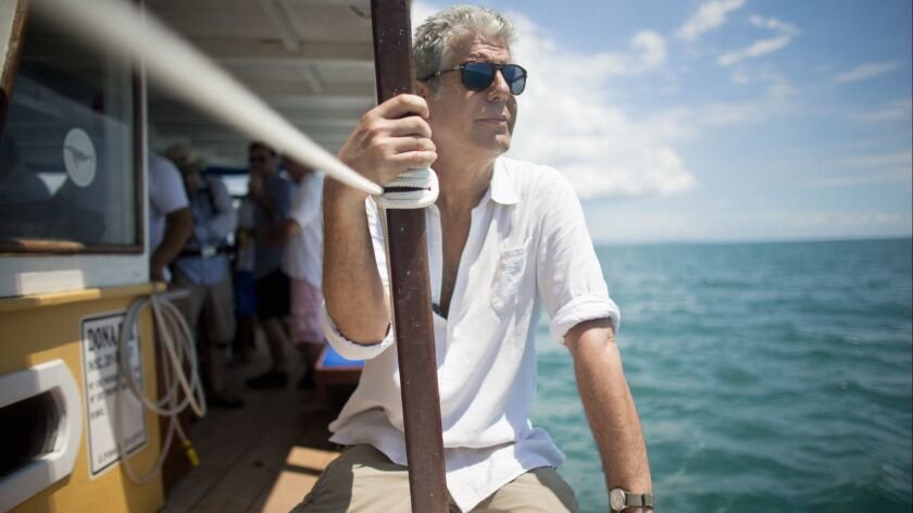 Anthony Bourdain shooting 'Anthony Bourdain Parts Unknown' on location in Salvador, Brazil on Januar