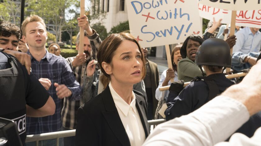 """In ABC's """"The Fix,"""" co-created by Marcia Clark, Robin Tunney plays an ex-deputy D.A. called back to prosecute a case against a man she had formerly failed to convict."""