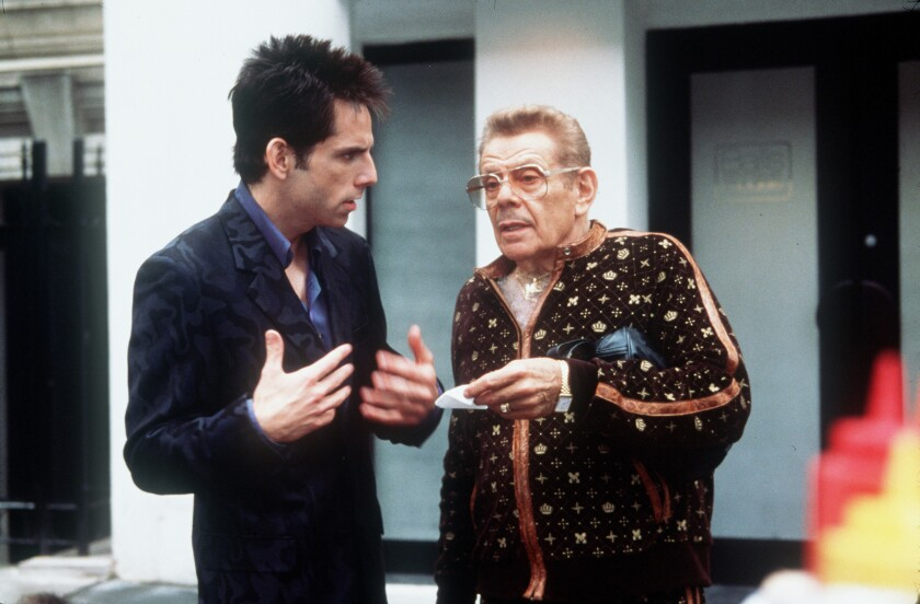"Ben Stiller, left, and father Jerry Stiller in the 2001 comedy ""Zoolander."""