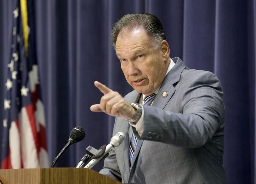 Orange County Dist. Atty. Tony Rackauckas speaks at a news conference in Santa Ana in February.