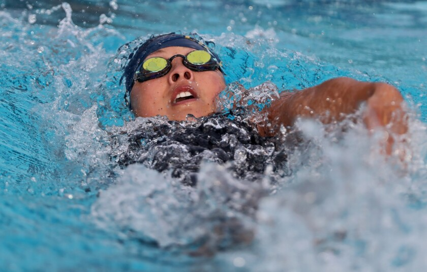 Marina High swimmer Sage Matsushima swims in the varsity girls 100 yard backstroke at the 2018 CIF S