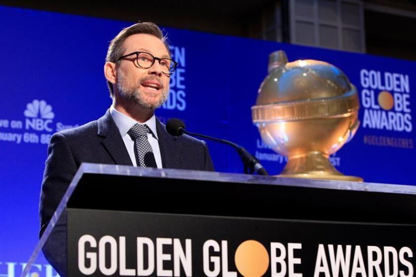 El actor estadounidense Christian Slater anuncia en rueda de prensa las candidaturas a la 76 edición de los Globos de Oro en Beverly Hills, California, Estados Unidos, hoy, 6 de diciembre de 2018. EFE