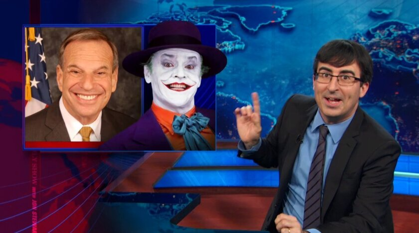 John Oliver lampooned San Diego Mayor Bob Filner on The Daily Show again.