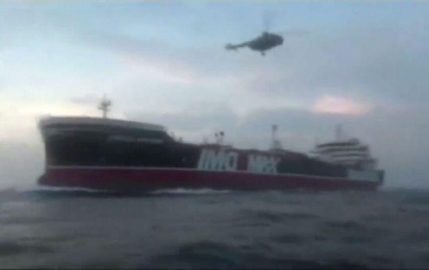 The British-flagged tanker Stena Impero in the Strait of Hormuz.