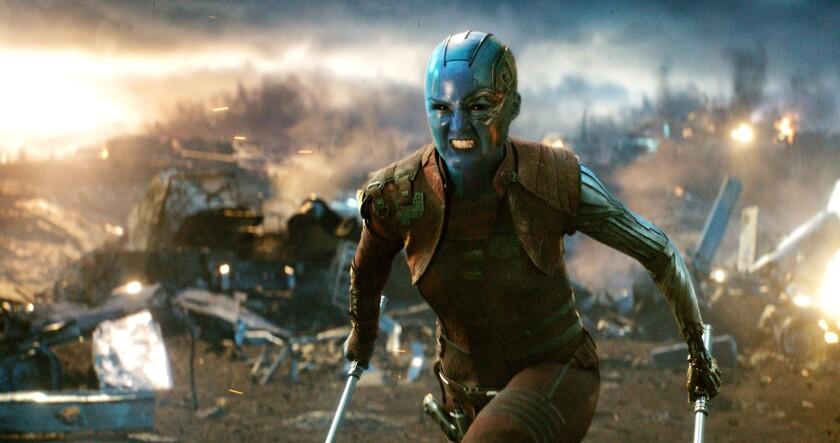 """Nebula (Karen Gillan) in a scene from """"Avengers: Endgame."""""""