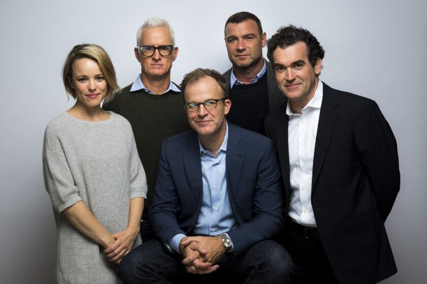 From left, Rachel McAdams, John Slattery, director Tom McCarthy, Liev Schreiber and Brian d'Arcy James photographed in the L.A. Times photo studio at the Toronto International Film Festival.