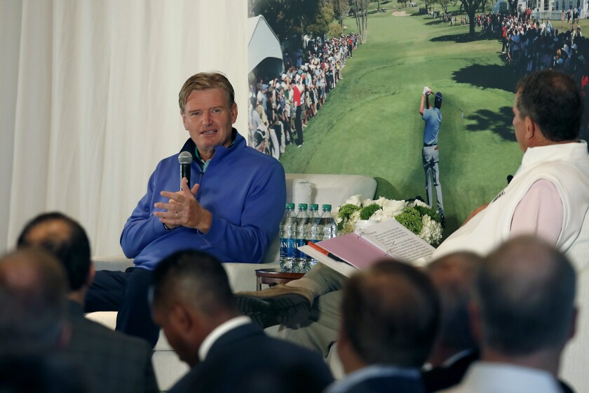 Professional golfer Ernie Els speaks as the guest of honor during the Hoag Classic's Breakfast with a Champion at Newport Beach Country Club on Tuesday. Els, a four-time major winner and recent Presidents Cup International team captain, will compete in the Hoag Classic golf tournament, Orange County's PGA Tour Champions event.
