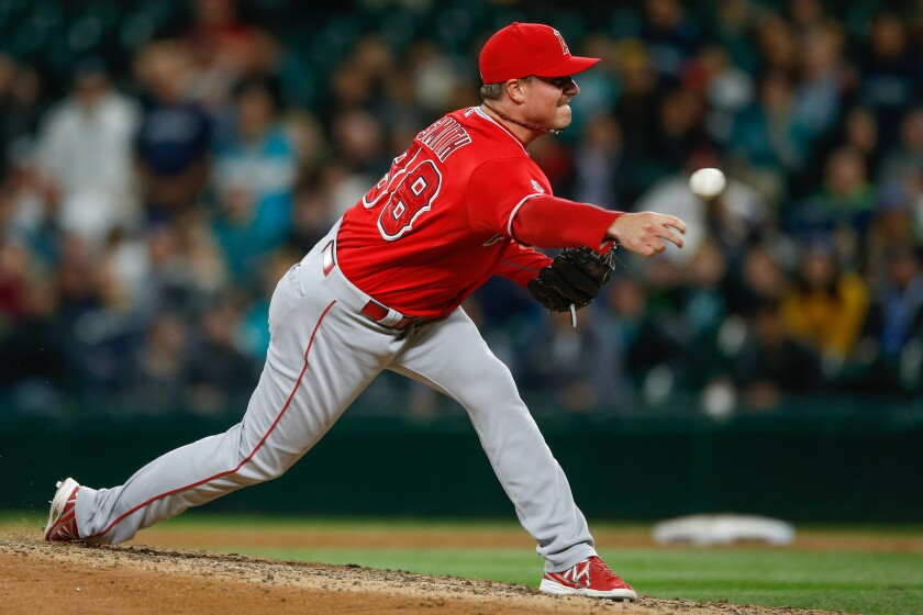 Angels reliever Joe Smith pitches against Seattle on Sept. 15.