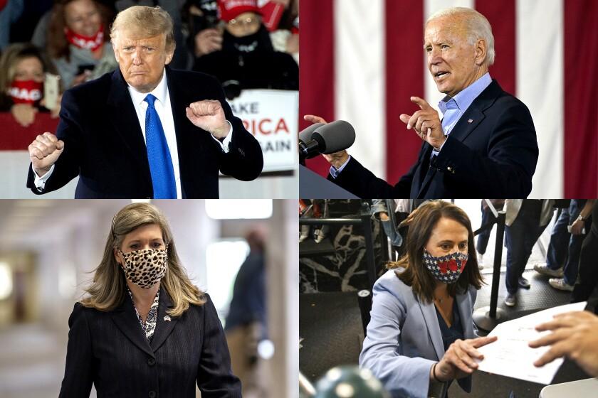 Four-photo collage of President Trump, Joe Biden, Senate candidate Theresa Greenfield and Republican Iowa Senator Joni Ernst