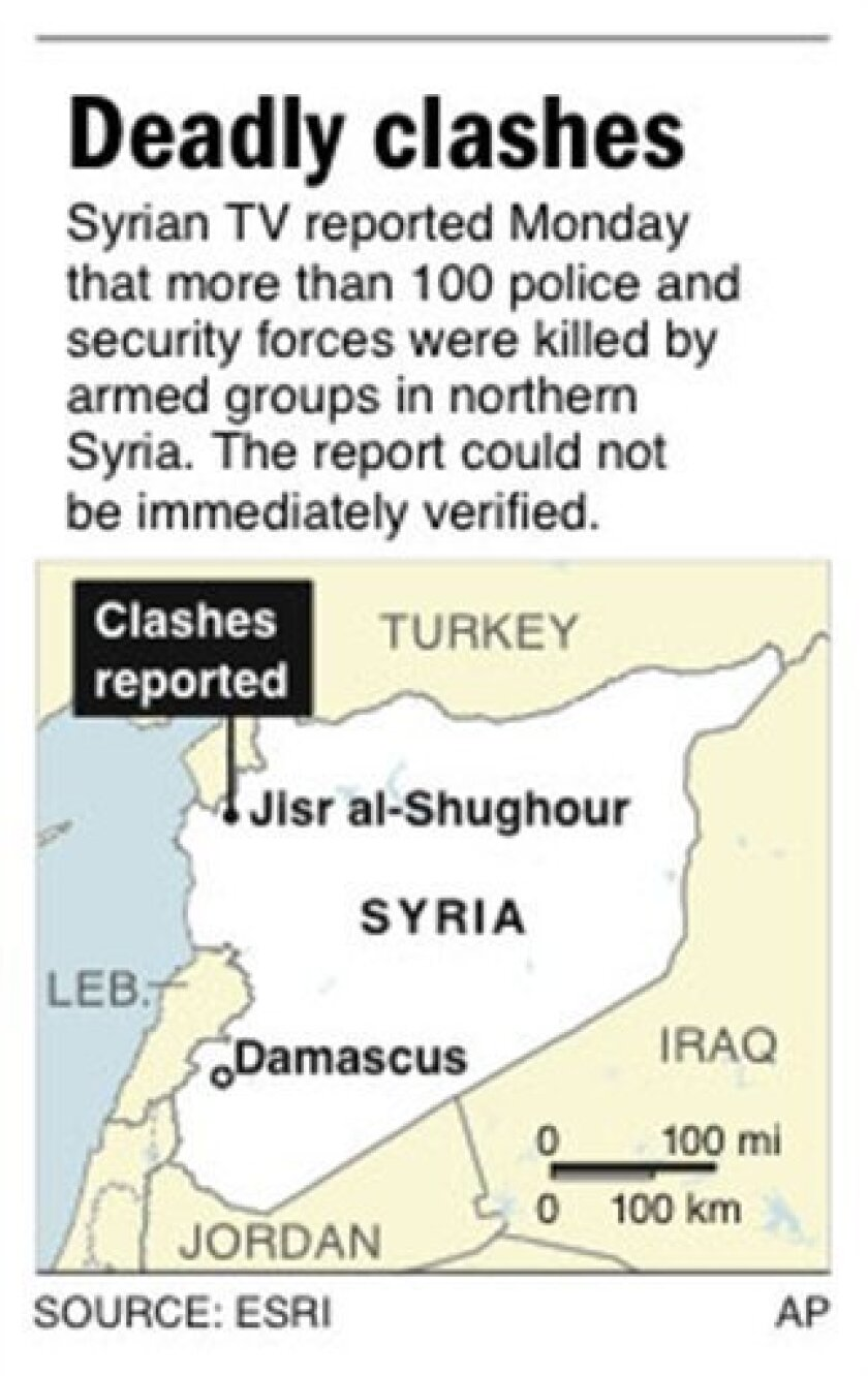 Map locates Jisr al-Shughour, Syria, where there reportedly was a violent clash between security forces and armed groups