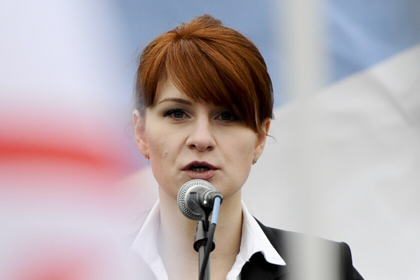 Maria Butina speaks during a 2013 Moscow rally in support of legalizing the possession of handguns.