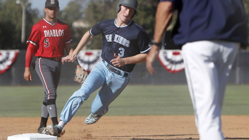 Corona del Mar High's Alex Rosen (3) rounds third base before scoring for the Pacific Coast League a