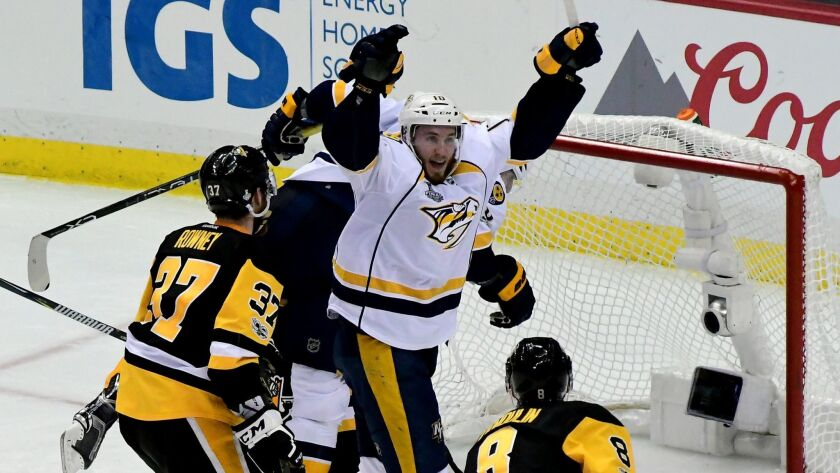Nashville's Colton Sissons celebrates after scoring a goal against Pittsburgh during the third period in Game 1 of the Stanley Cup Finals on May 29.