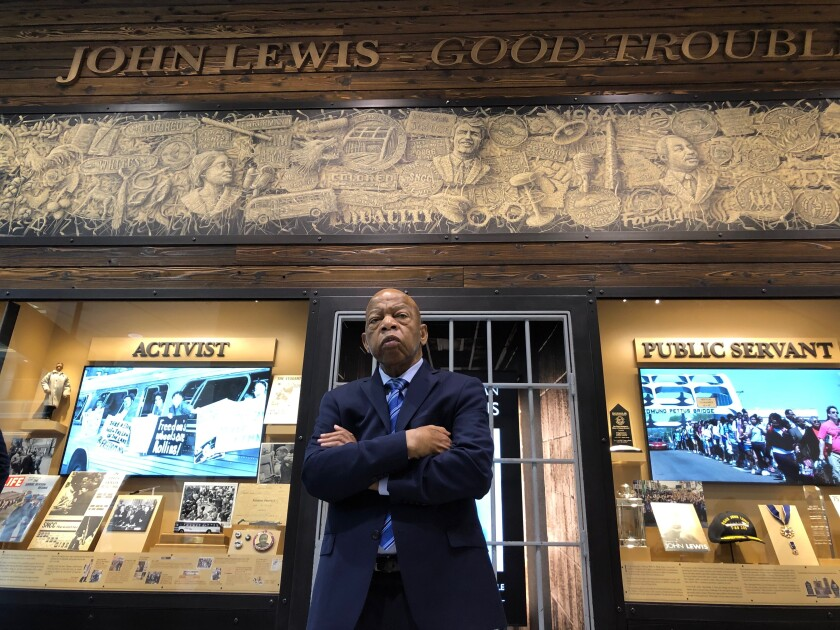 """This image released by Magnolia Pictures shows Rep. John Lewis in a scene from """"John Lewis: Good Trouble."""" (Ben Arnon/Magnolia Pictures via AP)"""